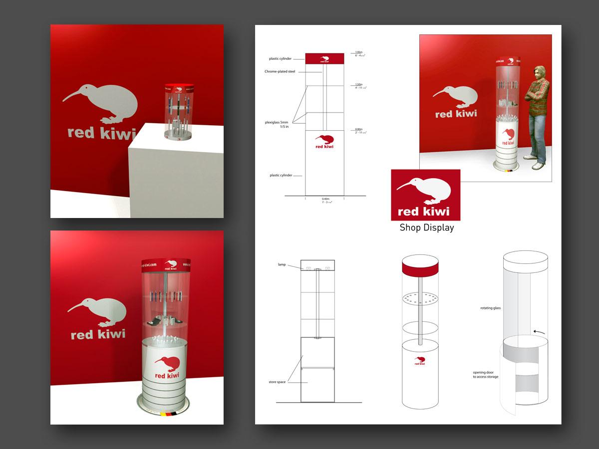 3D PLV counter display red Kiwi fasm design