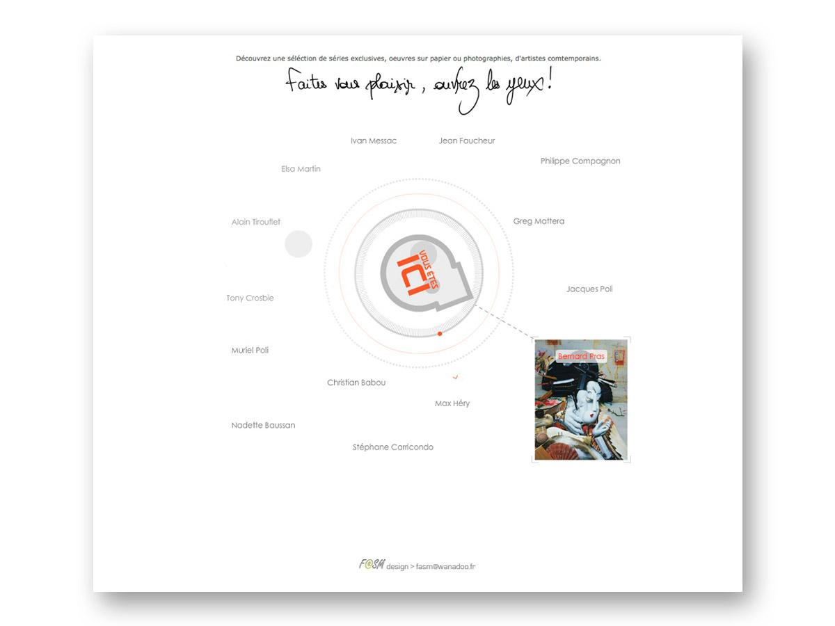 Site galerie en ligne VOUS ETES ICI - fasmdesign.com - accueil réalisé par straight-disorder.net
