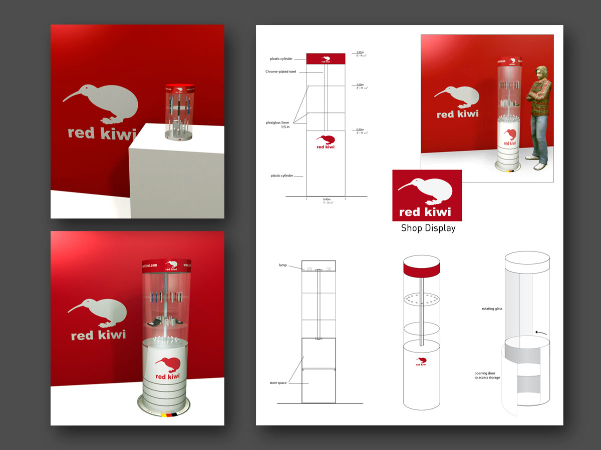 3D PLV counter display red Kiwi fasm design